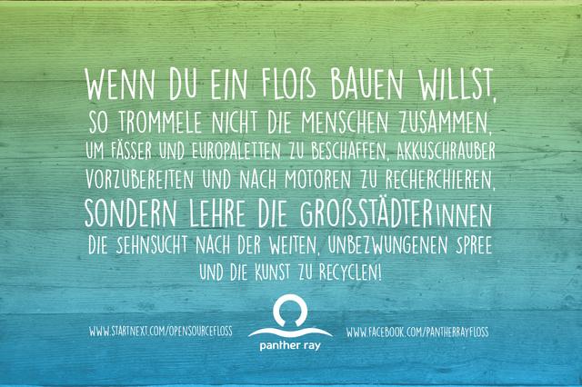 """Die """"Panther Ray""""- das Berliner Recycling-Floß für alle"""
