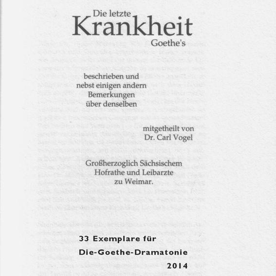 """Büchlein Vorzugsausgabe """"Die letzte Krankheit Goethe's """""""
