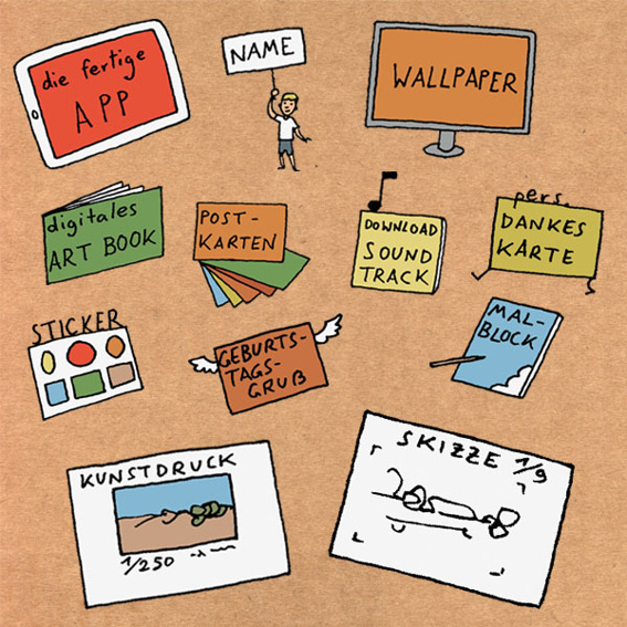 ZEICHNER: Die App, digitales Wallpaper und Artbook, Gold-Backer Nennung, Soundtrack zum Download, Sticker, 6er Postkartenset, Kritzelblock, Dankeskarte, Geburtstagsgruß, limitierter Kunstdruck und eine originale, signierte Szenen-Skizze.