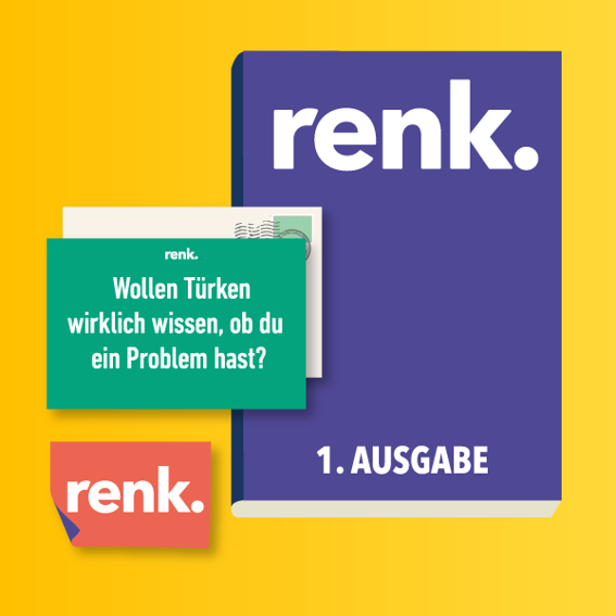 1 x renk. Magazin + Sticker + Postkarte