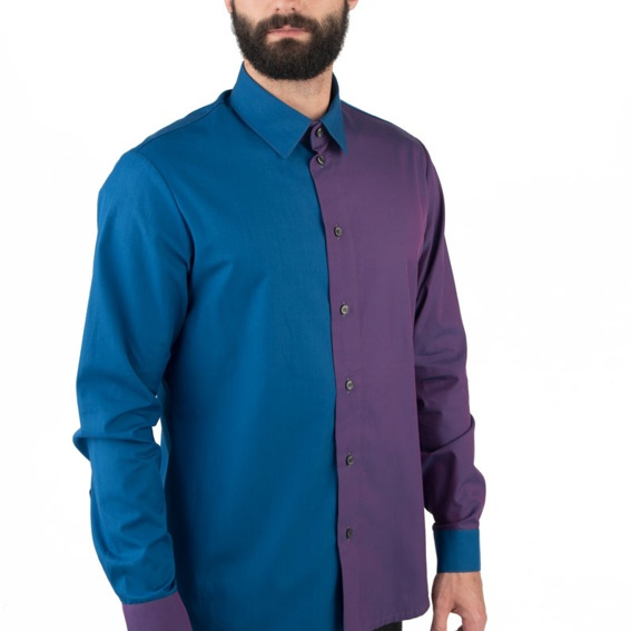 Herrenhemd   zweifarbig   blau – violet