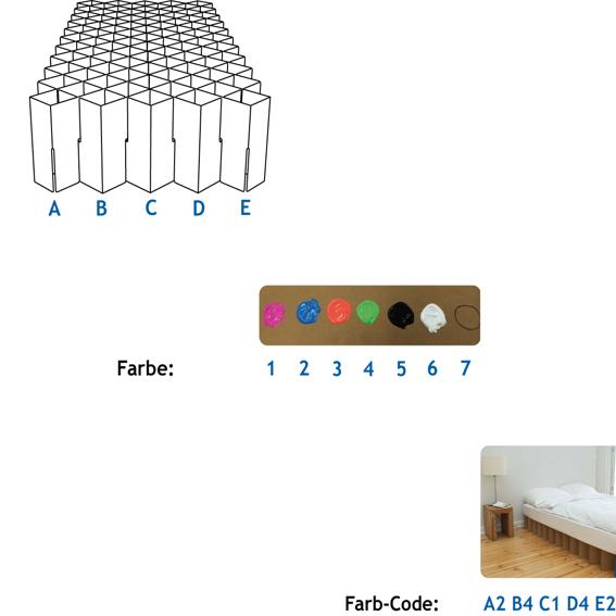 Bett 40 cm hoch mit farbiger Front