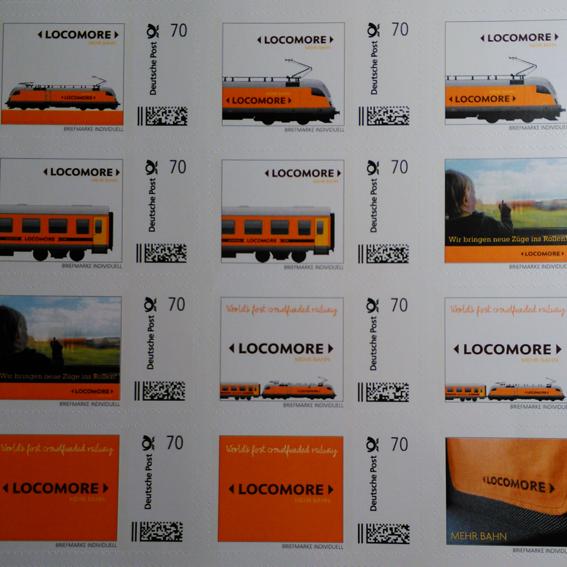 Bogen mit 20 Locomore-Briefmarken
