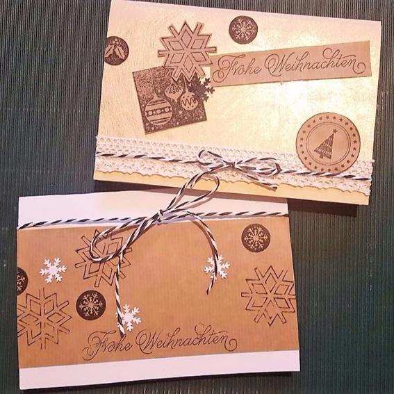 2 selbstgemachte Weihnachtskarten