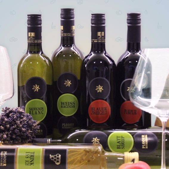 Weissburgunder,Purpur, Blauer Zweigelt,Sauvignon Blanc, Trink Ess Ich, Blattsirup & Virtuelle Spendentafel