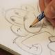 Originalzeichnung vom Affen oder Koala, signiert und mit Widmung
