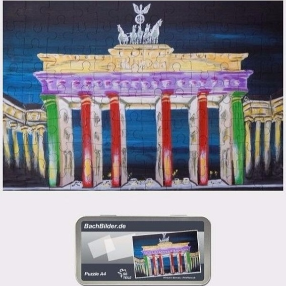 Puzzle Berliner Brandenburger Tor, A4 96 Teile in Metalldose