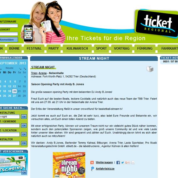 Ticket Regional Sponsoring