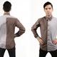 Herrenhemd | zweifarbig | grau - braun melange
