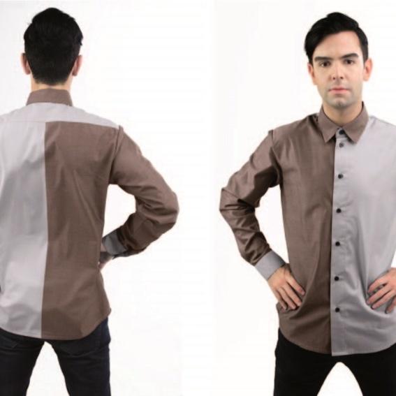 Herrenhemd   zweifarbig   grau - braun melange