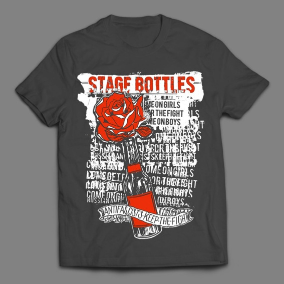 """Stage Bottles """"Antifascists Keep The Fight"""" T-Shirt"""