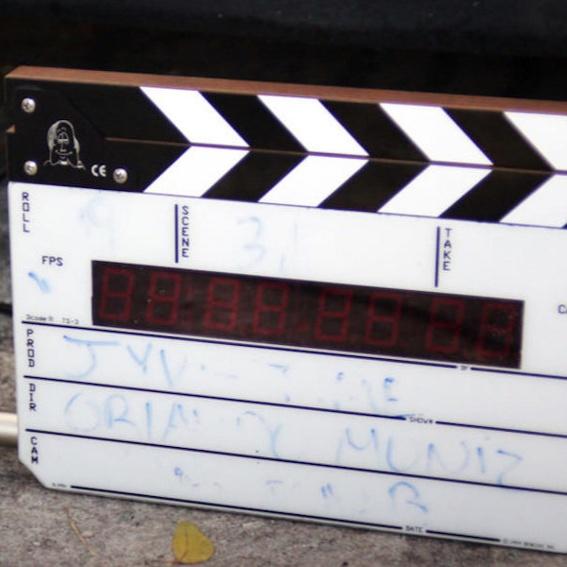 Film-Klappe vom Set