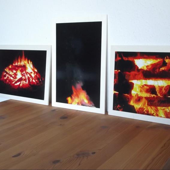 3 Feuerbilder als Triptychon ca 35x25x0,6 cm Sperrholz