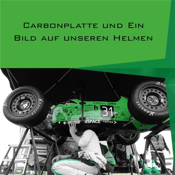 Carbonplatte + Bild auf Helm