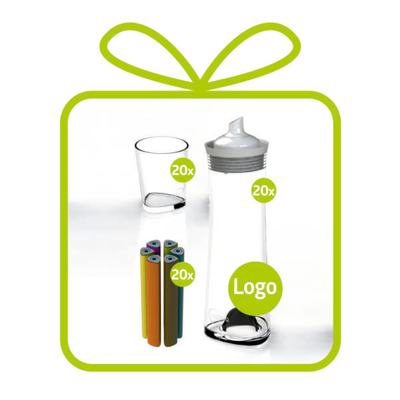 """""""Company Package + LOGO"""" 20 x GLASS CARAFES with individual logo"""