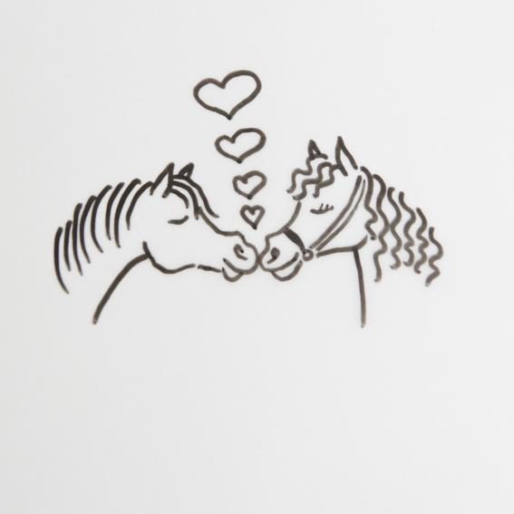 Signierte Pferdezeichnung