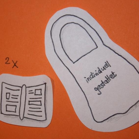 Handgestalteter Stoffbeutel + 2 Handbücher