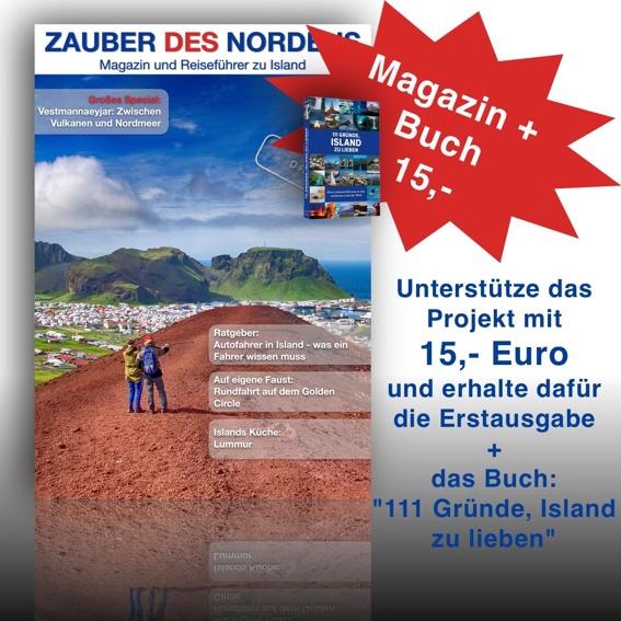 """Magazin + Buch """"111 Gründe, Island zu lieben"""""""