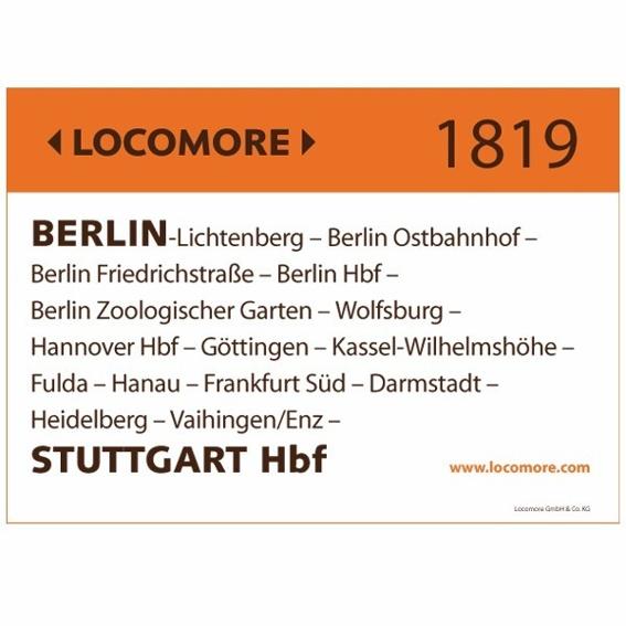 Locomore-Zuglaufschild