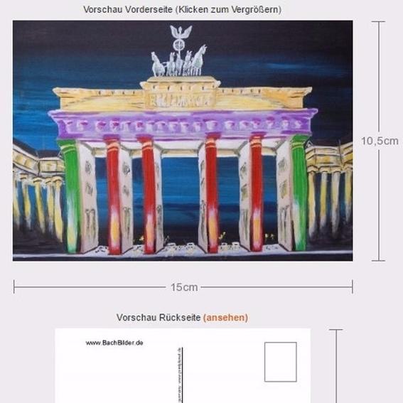 3er Postkarten Set (Motive: Brandenburger Tor, Sonnenfedern, Audrey Hepburn)