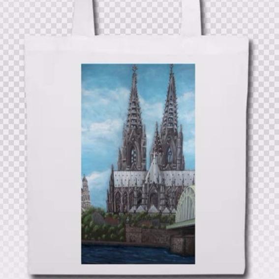 Stoffbeutel weiß (BW) / Aufdruck: Kölner Dom