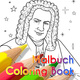 Das Malbuch über Johann Sebastian Bach mit dem Autogramm der Cousine von Johann Sebastian Bach, Briana Bach-Hertzog