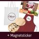 Geschenke-Paket: Jutebeutel, Küchenschürze, Mozzarella-Paket, Magnetsticker, Käseset (inkl. Versand)