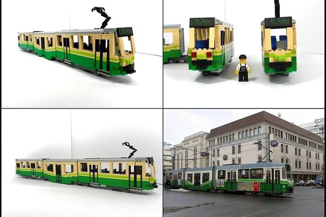 Lego Gelenksbus/Strassenbahn Holding Graz 1:15