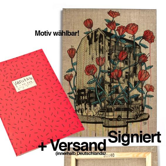 1 Ausgabe »Superzine Vanitas« (Pre-Order) + 1 30x40 Artprint auf Leinwand, signiert