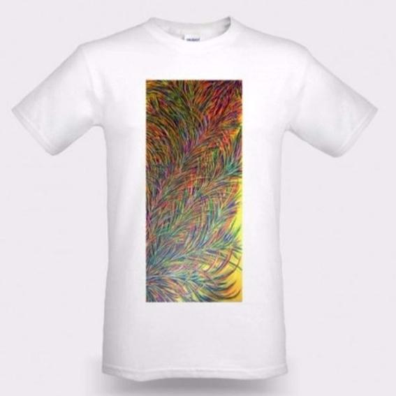 T-Shirt weiß / Aufdruck: Sonnenfedern