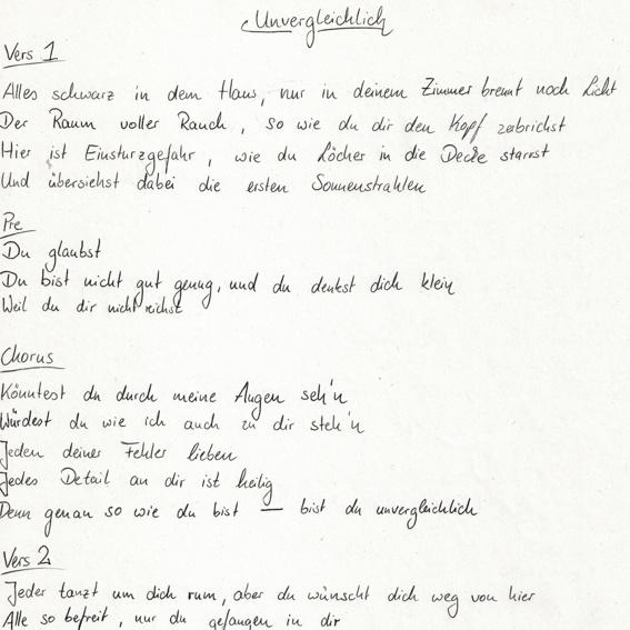 Handgeschriebener Songtext