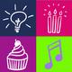 3 Buttons mit frohen Symbolen