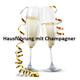 Vorführung des Objektes mit Champagner