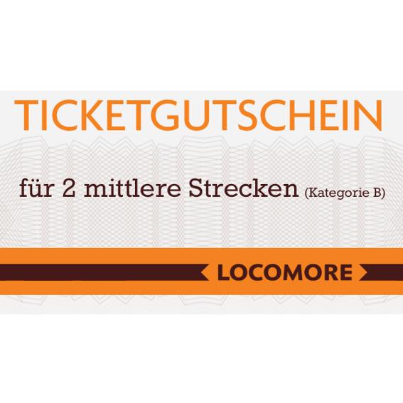 Ticketgutschein B, 2 mittlere Strecken