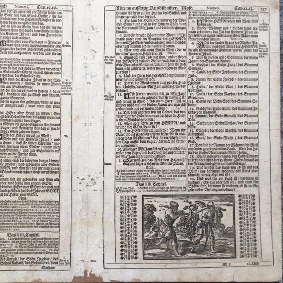 Alte Bibelseite /Doppelseite mit alten Stich