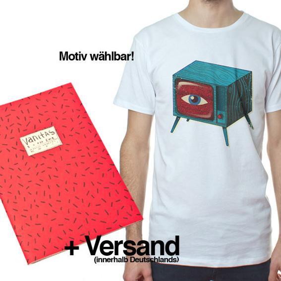 1 Ausgabe »Superzine Vanitas« (Pre-Order) + 1 T-Shirt (Boy oder Girl) weiss mit Wunschmotiv