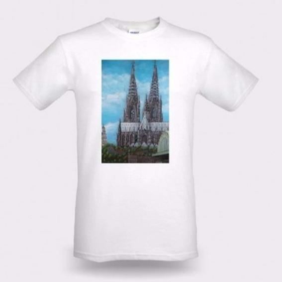 T-Shirt weiß / Aufdruck: Kölner Dom