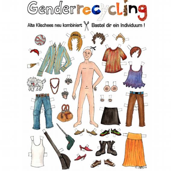 "1 Farbdruck des Cartoons ""Genderrecycling"", Din-A-3"