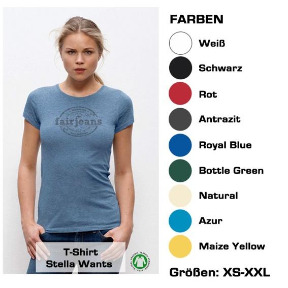 T-Shirt (Frauen) Bio-Baumwolle, in  9 verschiedenen  Farben mit unserem Logo