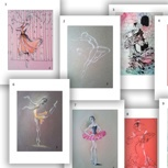 Art Print Ballerina Motive 1,2,3,6,7,8