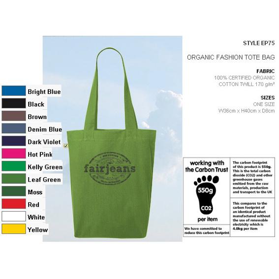 Coole Stofftasche aus Bio-Baumwolle in 12 Farben, mit Logo