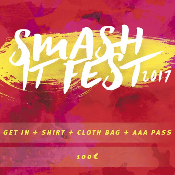 Dein Ticket + Smash It T-Shirt, Stoffbeutel und Backstagepass