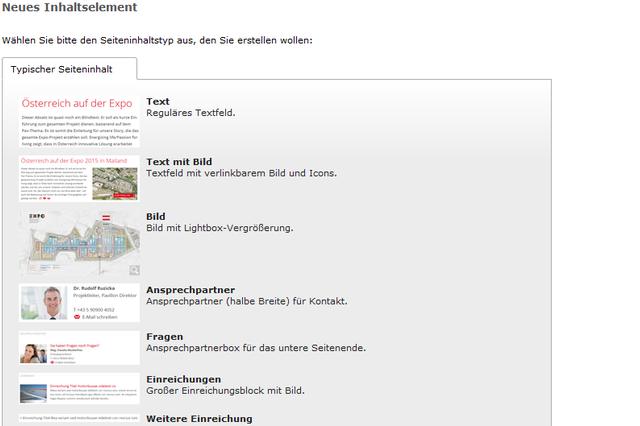 TYPO3 Seiten- und Inhaltselement Assistent