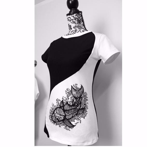 Ying-Yang Design Shirt 1 Side Printed Girls