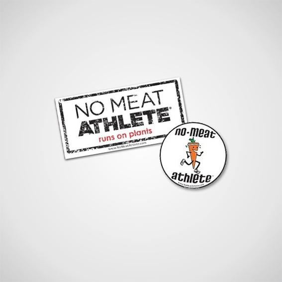 """""""No Meat Athlete"""" Sticker + Button + Dankeschön auf NoMeatAthlete.de"""