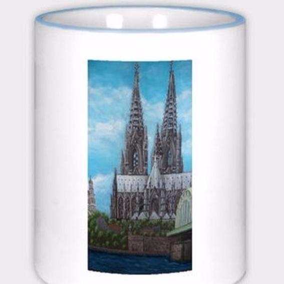 Tasse color (blau) mit Kölner Dom