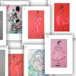Art Print Ballerina Motive 3,4,5,8,9,10