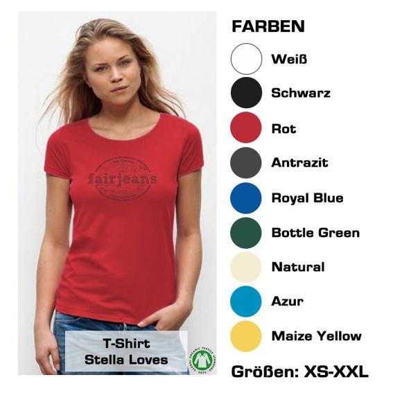 T-Shirt (Variante für Frauen) Bio-Baumwolle, in  9 verschiedenen  Farben mit unserem Logo