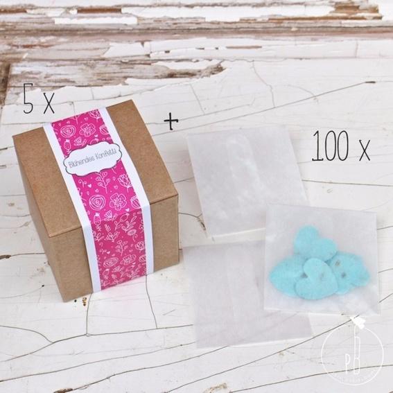 5 x Blühendes Konfetti + 100 Umschläge (Hochzeitsset für 100 Gäste)