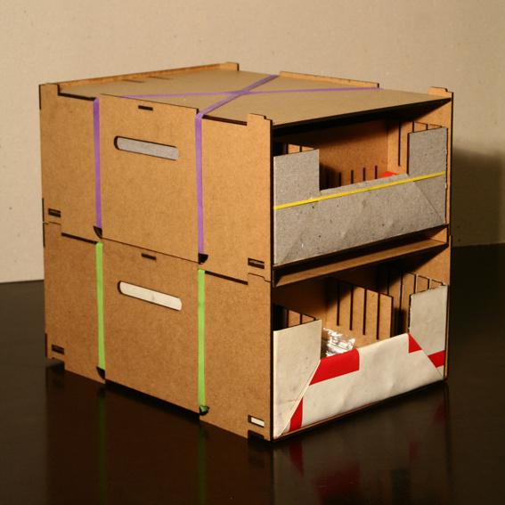 4er Set Stapelbox mit Einschub